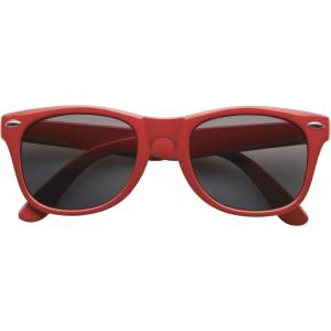 Klasszikus napszemüveg, piros logózható reklámajándék